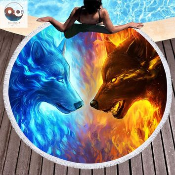 Fire and Ice byJoJoesArt Yoga Blanket 150cm Round Microfiber Beach Cover Up Plage Towel Bath Swim Shawl Thick Picnic Camping Mat