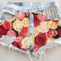 ANY COLOR Ripped Frayed Roses Studded Denim by UniversalShop