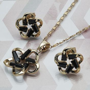 Gold Layered Women Flower Earring and Pendant Adult Set, with Black Cubic Zirconia, by Folks Jewelry