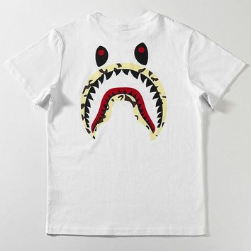 Bape x Stussy Woman Men Fashion Shark Tunic Shirt Top Blouse