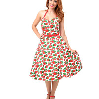 Collectif 1950s Style White & Red Strawberry Halter Ginger Swing Dress