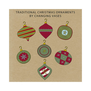 Instant Download, Digital Christmas Ornaments, Christmas Clip Art Collection Holiday Scrapbook Elements Burgundy Red Burgundy Green Gold
