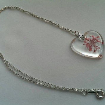 Dried Pressed Flower Necklace - resin, silver plated chain, jewellery, jewelry