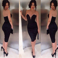 Ladies Sexy Off-Shoulder Slim Fashion Bodycon Party Cocktail Evening Dress