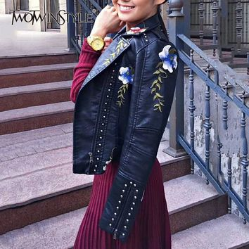 TWOTWINSTYLE PU Leather Female Jacket Embroidery Floral Rivet Patchwork Long Sleeve Slim Short Women's Coat 2018 Harajuku New
