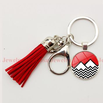 Twin Peaks charm key chain glass dome pendant tassel keyring popular band rock and roll car holder for women and men