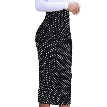 Polka Dot Ruched High Waist Pencil Skirt