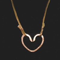 Hammered Copper Heart Pendant Necklace on a Silk Cord