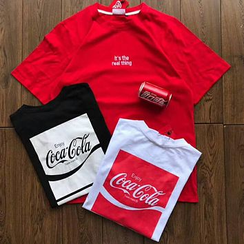 Coca-Cola 2018 summer new classic printed letter loose round neck T-shirt F-XMCP-YC