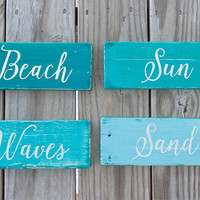 Beach Sign - Reclaimed Wood Sign - Hand Painted Sign - Coastal Beach Decor - Nautical Decor - Beach House Sign - Beach Home - Word Wall Art