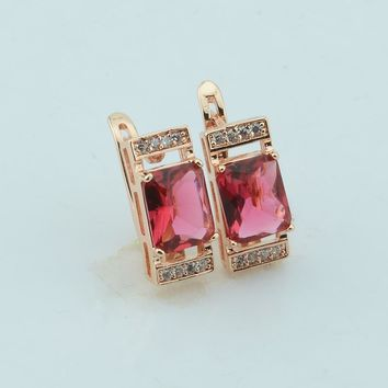 Rose Gold Rectangle Cubic Zircon Clip Earrings