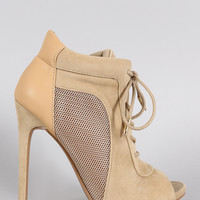 Shoe Republic LA Vegan Suede Heel Lace Up Mesh Bootie
