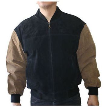 Men's Genuine pig napa suede Leather Jacket Zip up bomber  Sytle #Varsity-2