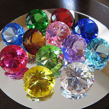 Crystal Prism Diamond Prism Paperweight Ornament Set of 12, Superior Cut Facets