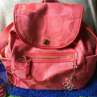 Handbag Coach Pink Canvas SIG Patent Leather Trim Drawstring Snap Backpack