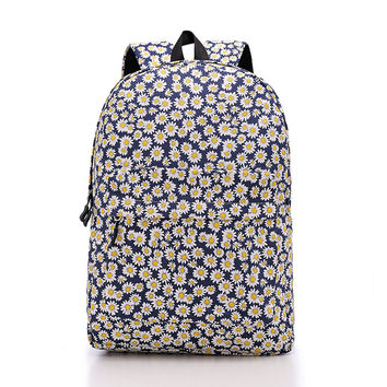 Women's Canvas Daisy Flower Print Backpack Travel Bag Outdoor Daypack