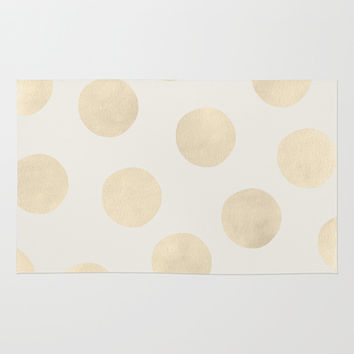 Gold Polka Dots Rug by Georgiana Paraschiv