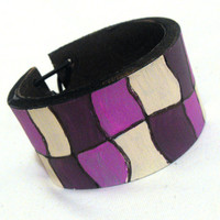 Leather elegant hand painted purple bracelet Leather by julishland