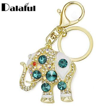 CREYIJ6 Amazing Elephant Crystal Bag Pendant Purse Bag Buckle  Trendy Key chains Holder Keyrings Keychains For Car K189