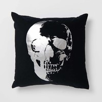 Velvet Metallic Skull Pillow