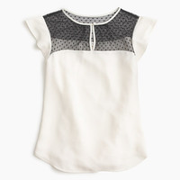 J.Crew Womens Swiss-Dot Flutter-Sleeve Top In Ivory