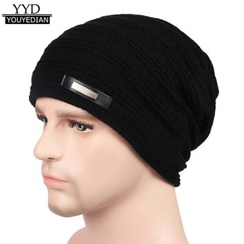 2017 New Arrival Baggy Warm Crochet Winter Wool Knit Ski Beanie Skull Slouchy Caps Hat For Men Gorros Hombre Invierno *1121