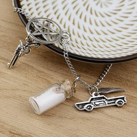 Fashion Silver Tone Supernatural Protection Necklace Angel Wing Pentagram With Drifting bottle Pendant Chain Necklace