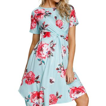 Summer woman clothes Short sleeve midi high waistline Light Mint Navy Floral Print Twist Front Handkerchief Hem Dress 220366