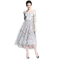 1/2 Sleeve Floral Embroidered Sheer Elegant Bohemian Party Dress