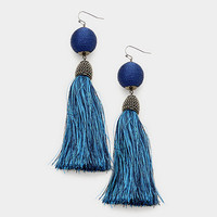 Navy Blue & Silver Thread Wrapped Ball Tassel Earrings