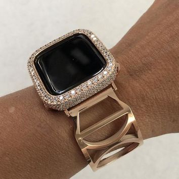Rose Gold 38mm 40mm 42mm 44mm Apple Watch Band Cuff Bangle Dior Style Womens/Bezel 18K Gold Plated Case Cover 2.5mm Lab Diamonds Bling