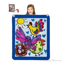 "Turn Your Child's Drawing into a 60"" x 50"" Heavy Weight Sherpa Throw Blanket"