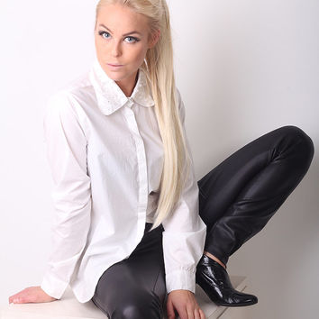 Spiked Collar White Shirt