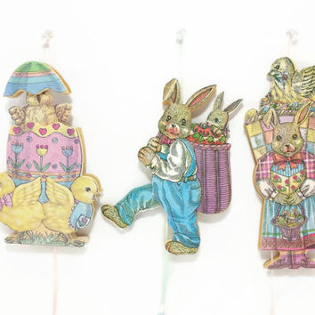 Vintage Easter Wood Pull String Ornaments, Bunny, Rabbit, Baby Chicks, Easter Eggs, Easter Tree, Moveable Dancing Ornaments, Easter Tree