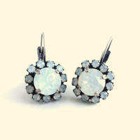Swarovski crystal white opal earrings, 8mm center surrounded by smaller white opals , bridal, siggy bling