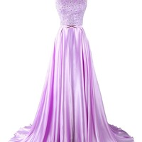 Dresstells Lavender Long Prom Dress with Beads Wedding Dress Evening Gown