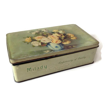 Vintage Milady Tin, English Candy Tin, Walter and Hartley, England, Toffee Candy Tin, Yellow Roses, Shabby Chic Decor Tin Box