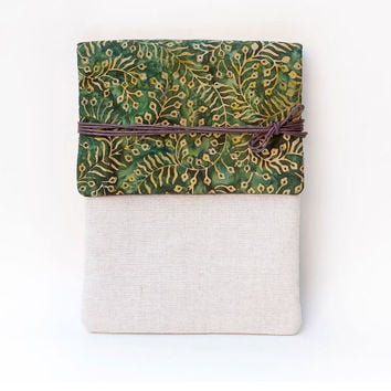 Green Waxed Floral Cotton Canvas Kindle Cover or iPad Case, Made to Order