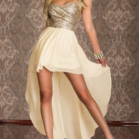 Beige and Grey Sequined Strapless High Waist Hi-Low Dress