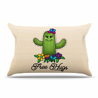 "Noonday Design ""Free Hugs Cactus"" Green Pastel Pillow Case"