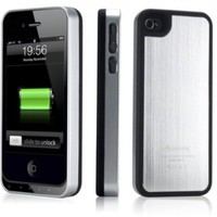 Alpatronix MFi Apple Certified BX100 1900mAh iPhone 4/4S Battery Charging Case (Ultra Slim Removable Extended Battery, Fits all models of Apple iPhone 4/4S - Retail Packaging) - Aluminum Silver/Black