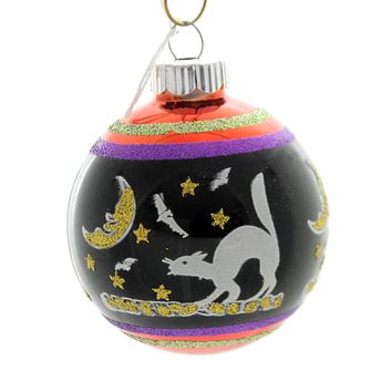 Shiny Brite HALLOWEEN SIGNATURE FLOCKED. Glass Ball Ornament 4026973S I