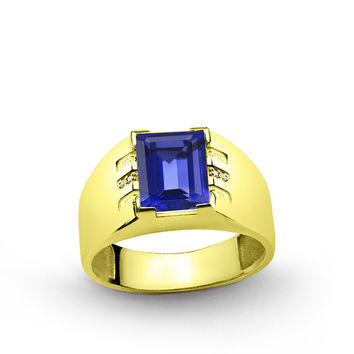 10 K Solid Yellow Gold Men's Ring with 4.40 ct Sapphire and 0.03 ct Diamonds
