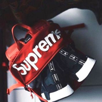 SUPREME Letters mass sports leisure backpack bag skateboard Red