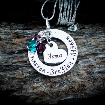 Personalized Pewter Nana Necklace with heart and birthstones