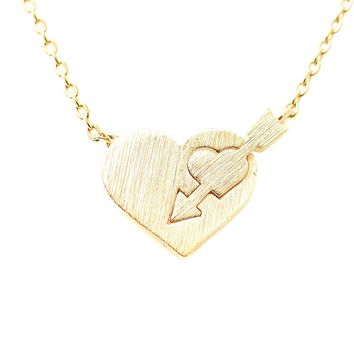 Handcrafted Brushed Metal Arrow in Heart Necklace