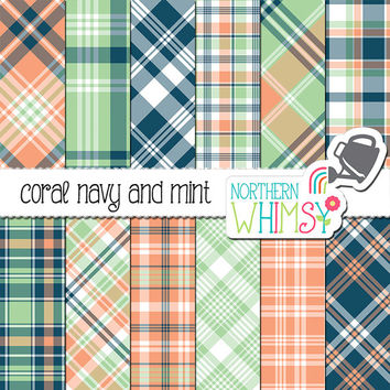 Coral Navy and Mint Digital Paper - plaid scrapbook paper in blue, pastel green and coral - tartan printable paper - commercial use OK