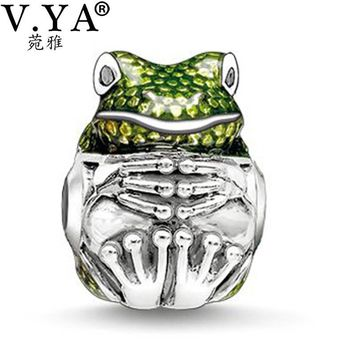 Frog Charms Beads fit Pandora Necklace Bracelet for Women Female Cute Frog with Rhines