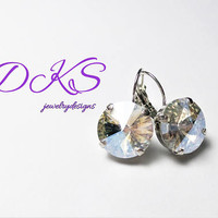Rare, Crystal Moonlight, Swarovski 14mm Lever Back Drop Earrings, Round, Bridal, Jewelry Gifts, DKSJewelrydesigns, FREE SHIPPING