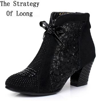 Thick Mid Heel Nubuck Leather Lace Floral Bowknot Pearl Rivets Summer Women Fashion Sandals Ankle Boots Plus Size 32-42 SXQ0527